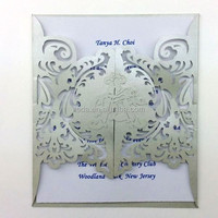 2015Teda Free Shipping Laser Cut Pearl Silver Letter Wedding Invitations (FC-003)