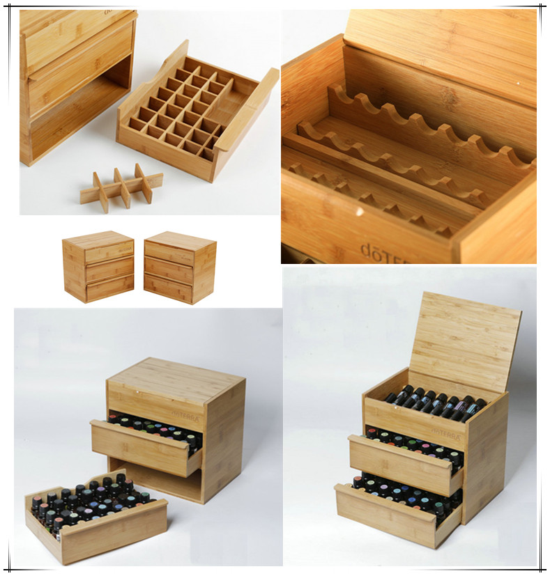 Three-tier Essential oil bamboo box 88 bottles