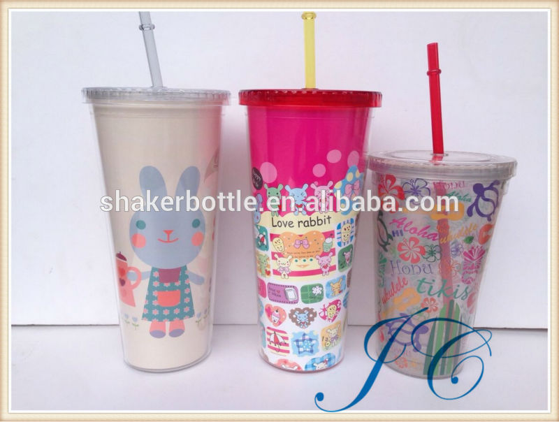 Clear Reusable Plastic Straw Cup with Lid