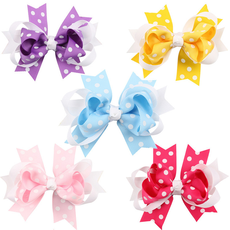Dots Hair Bows Toddler Stacked Boutique Baby Bows Hair Clips For Girls Hair Accessories