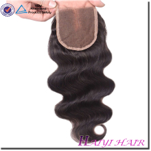 Hot Selling Natural Color Body Wave 8A Grade Virgin Brazilian Hair Silk base Lace Closure