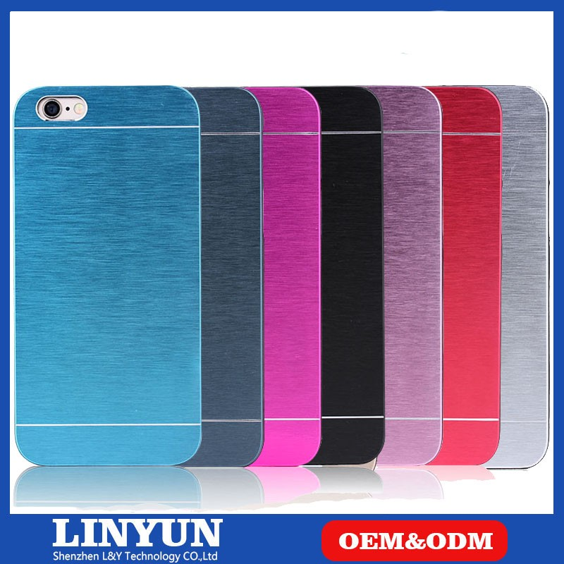New Factory Promotion High Quality 7 Colors Available Metal Brush Aluminum +Hard PC Back Case for iPhone 6s Plus