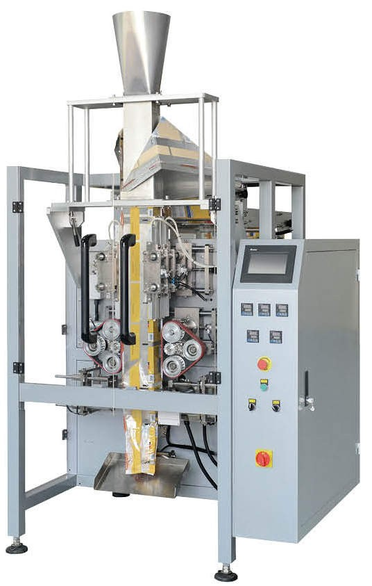 Vertical form fill sealing machine for quad seal bag with four sealed sides