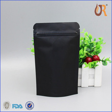 Matte stand up dried food packaging plastic zip lock bags round window black mylar bags
