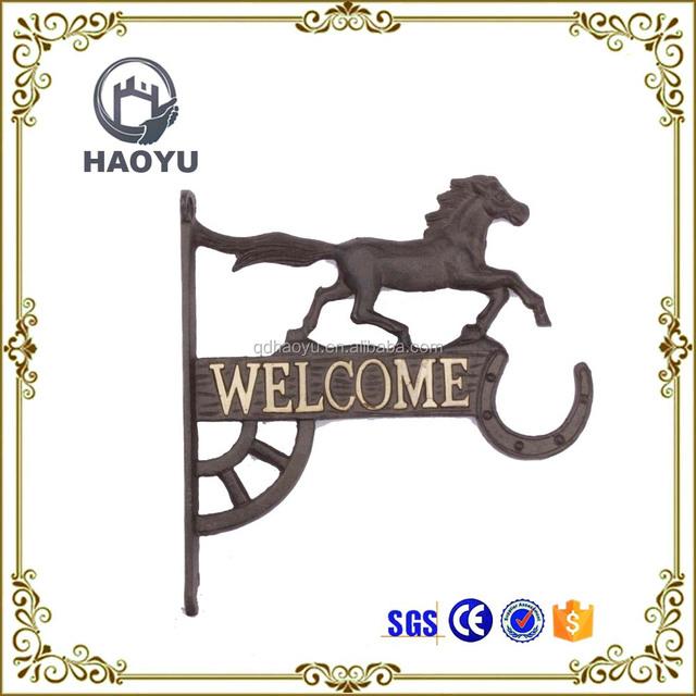 Metal wall decoration welcome sign art animal horse corner bracket