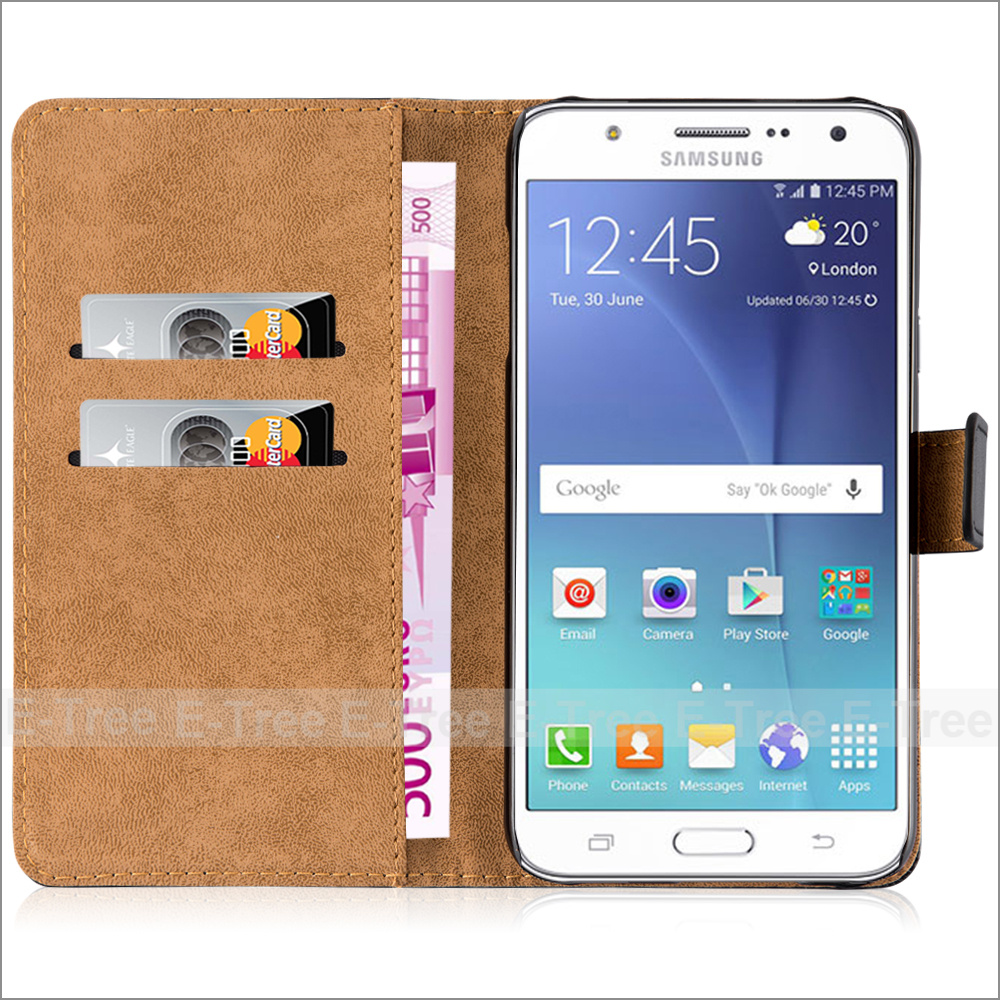 Classical Magnet Flip Cover Leather Wallet Phone Case For Samsung Galaxy J7 2016
