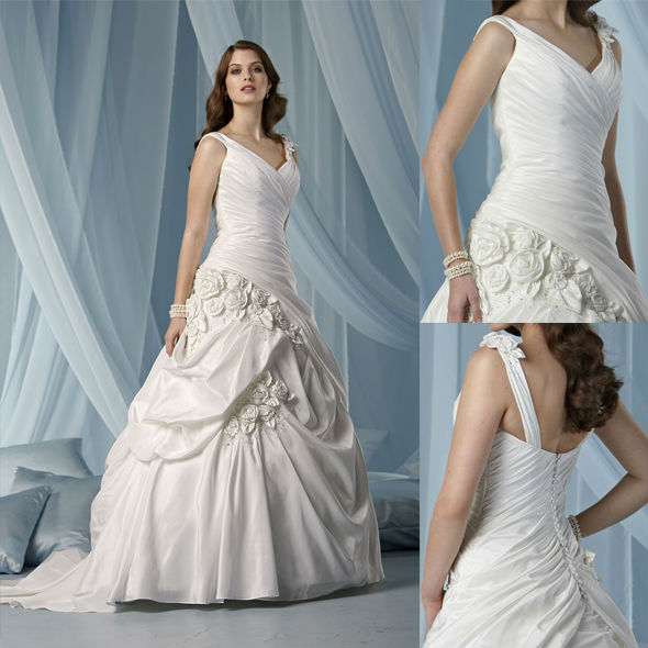 WD1835 alibaba bridal dress sleeveless color can be changed OEM accepted US2-US28 wedding dress with white or red roses flowers