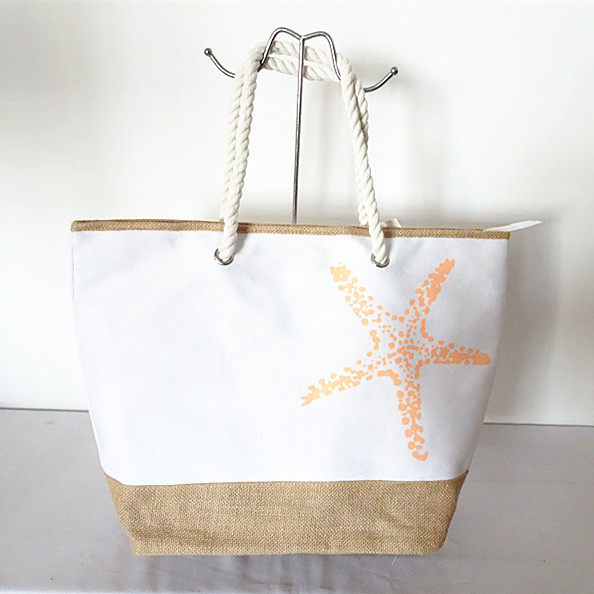 two-tone canvas rope handle tote beach bag with custom printed anchor or sea star logo