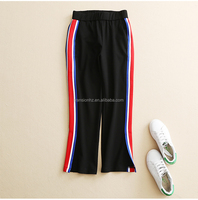 women's young fashion side colored blue/white/red stripes soft roma fabric casual loose pants