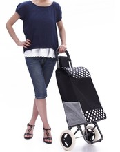 New Style Hot Sale Canvas Women Shopping Bag on Wheels Top Grade Desigual Rolling Reusable Trolley Large Capacity