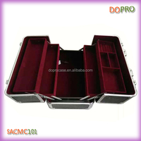 Big size cheap professional makeup case with large compartments