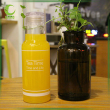 450ml tea time plastic and glass couple water bottle for lovers ,