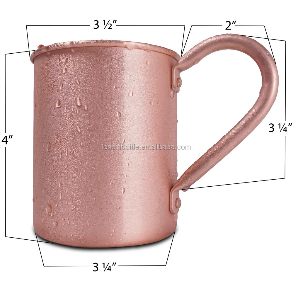 Moscow Mule 100 /% Solid Pure Copper Mugs//Cups WITH 1 SHOT MUG FREE 16-ounce//Set of 2, Smooth Set of 4