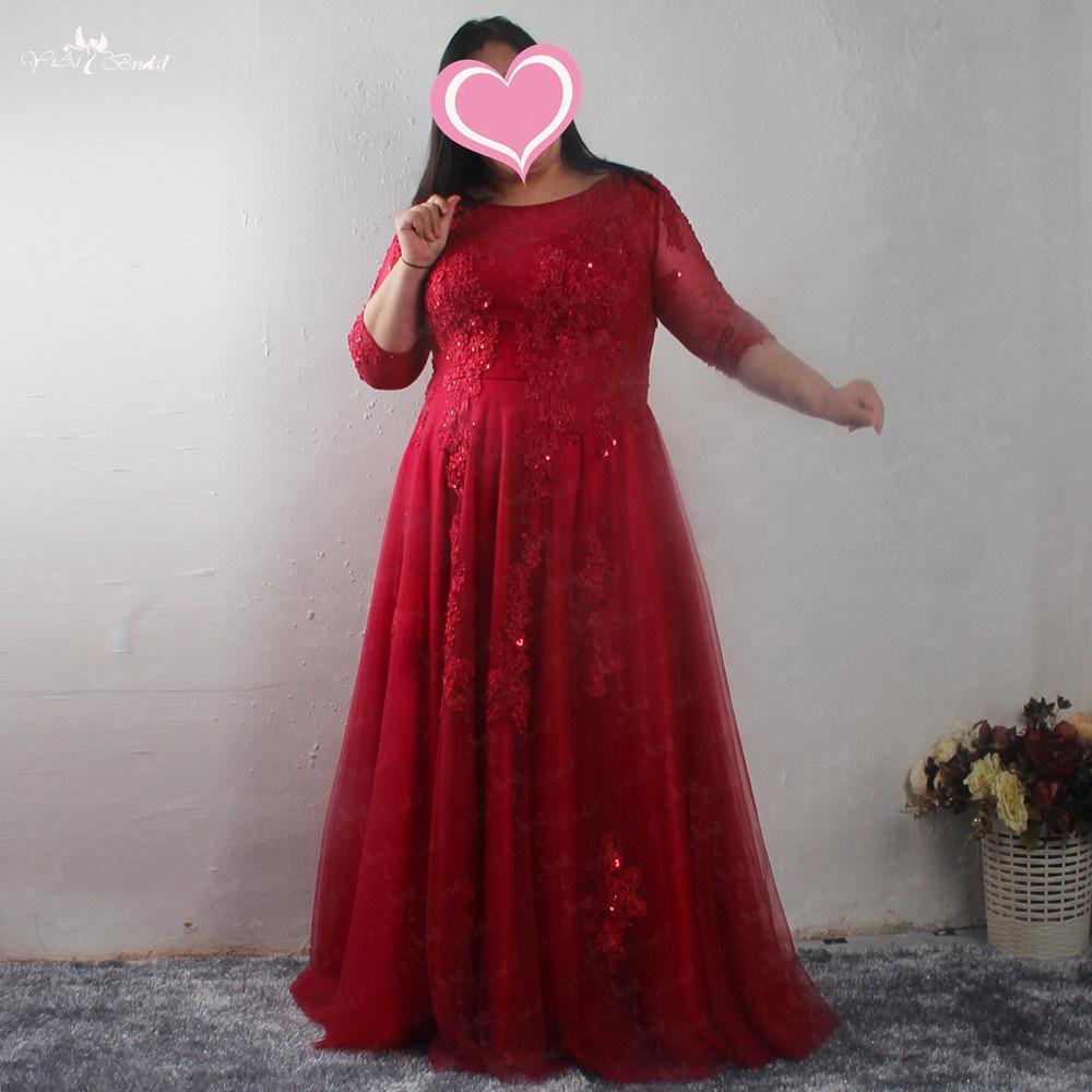 Lzf093 Plus Size Dresses Custom Design Beading Red Evening Dresses With  Long Sleeve - Buy Plus Size Dresses,Dress With Long Sleeves,Evening Dress  ...