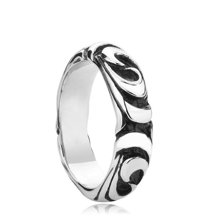 Titanium Steel Jewelry Antique Engraved Mens Finger Rings Wholesale