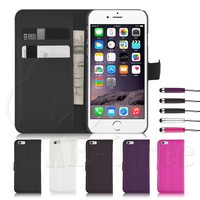 magnetic book style wallet flip leather case for iphone 6 phone case