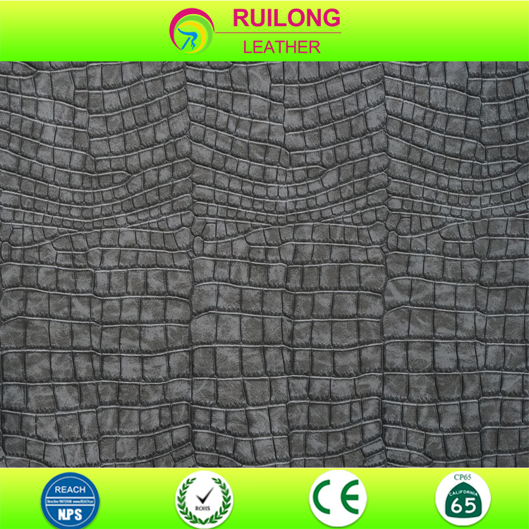two-tone embossed CROCO Alligator Pattern Fake Crocodile skin leather
