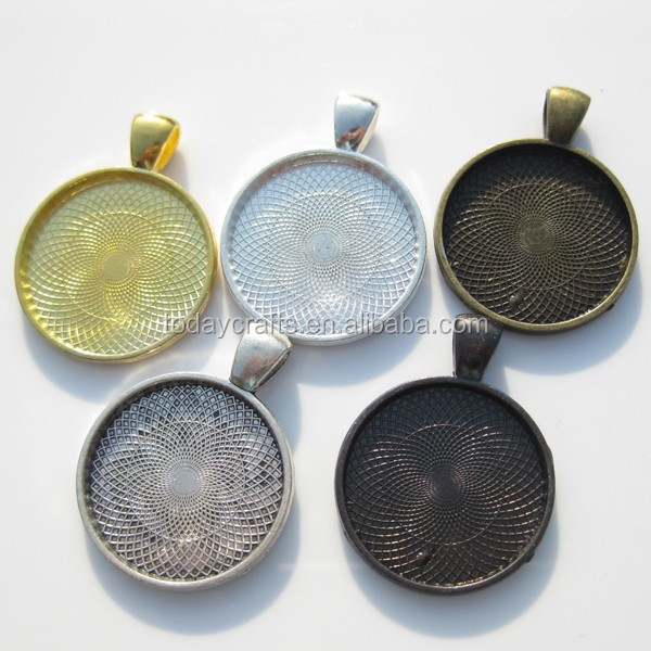 25mm Antique bronze copper silver gold plated round blank pendant bezel trays
