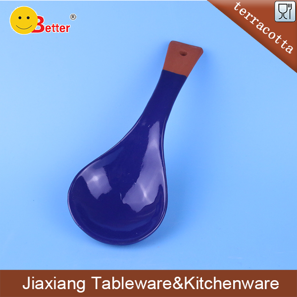 Ceramic blue glazed terracotta cooking spoon rests and holder