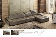Living room brown pure italian malaysia wood trim leather sleeper sofa bed furniture for sale