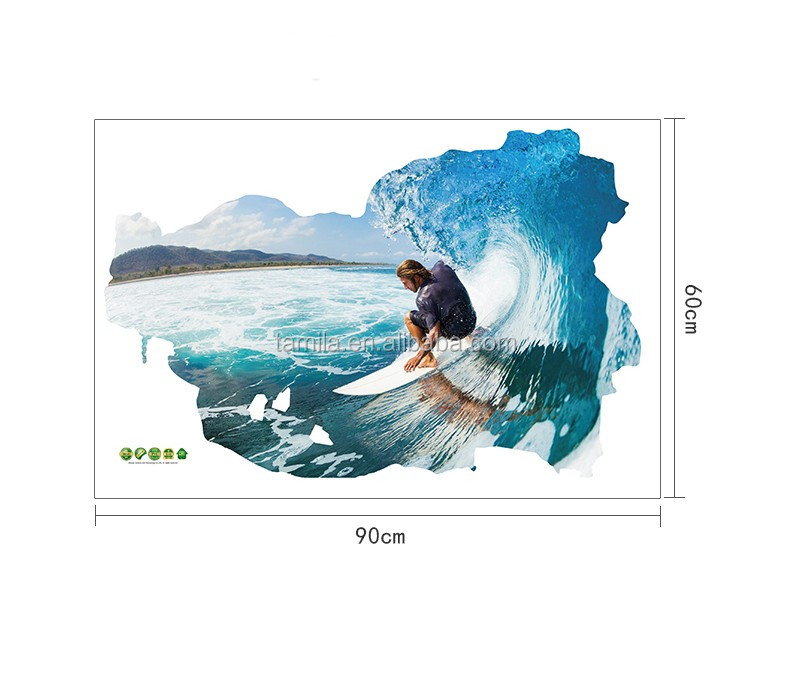 2016 New Arrival 3D Surfing decorative window wall stickers /wall decal