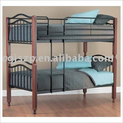 metal black bunk bed frame wooden legs
