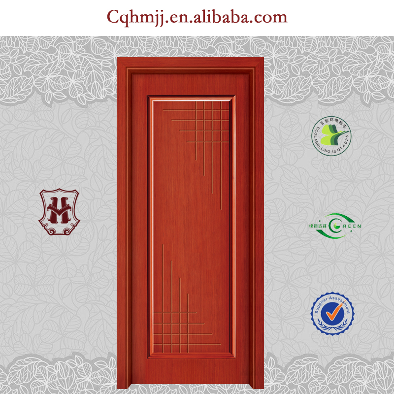Double leaf flush door with carved and line pressed design