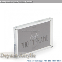 High quality block magnetic photo frames clear glass picture frame