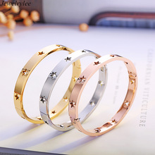 New gold hollow bangle bracelet designs hot jewelry trends rose gold star bangle