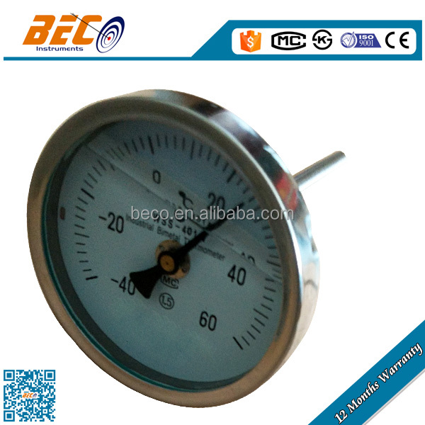 (WSS-401) 100mm large diameter center panel mounting positive and negative compound hydraulic oil temperature gauge