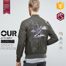 Guangzhou Hongxiong oem cheaper price long sleeve stand collar pocket zipper embroidered korean jacket