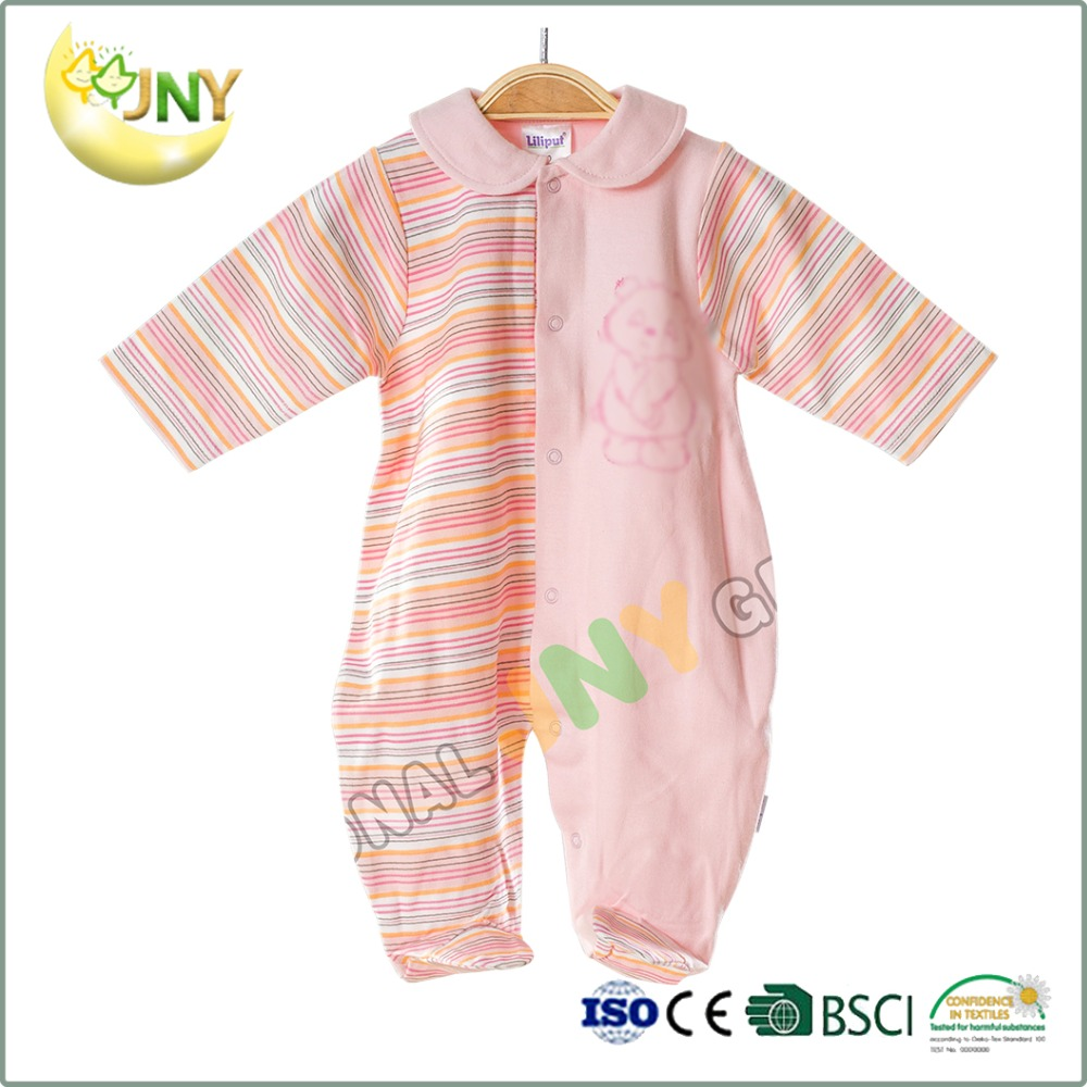 Cotton Infant Knitted Striped Romper Newborn Kids Footed Pajamas