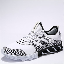 Korean version of men's shoes rubber outsole Offset printing and mesh splice breathable running shoes