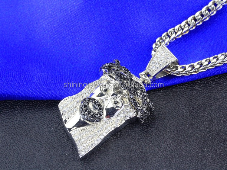 hiphop ice out cz white gold finish men's lab diamond jesus piece