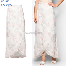 Classical color fashion design open abaya design long skirts for ladies wholesale singapore skirt chiffon print Arab lace skirt