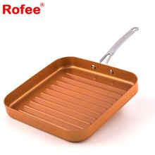 "Copper Pan 11"" Non-Stick Deep Square Grill Pan with Ceramic Coating"