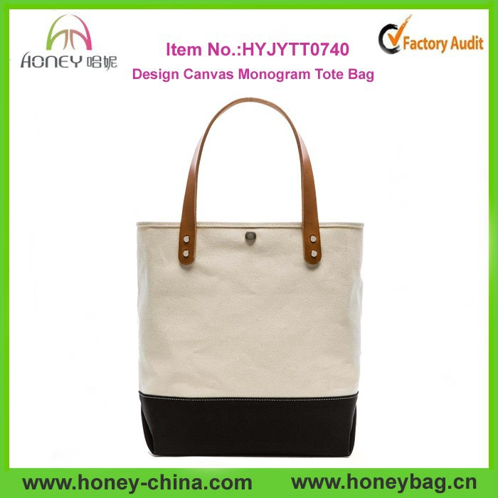 Wholesale Classic Plain Leather Custom Design Heavy Canvas Tote Bag