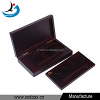 Matte lacquer handmade antique wood coin display case box
