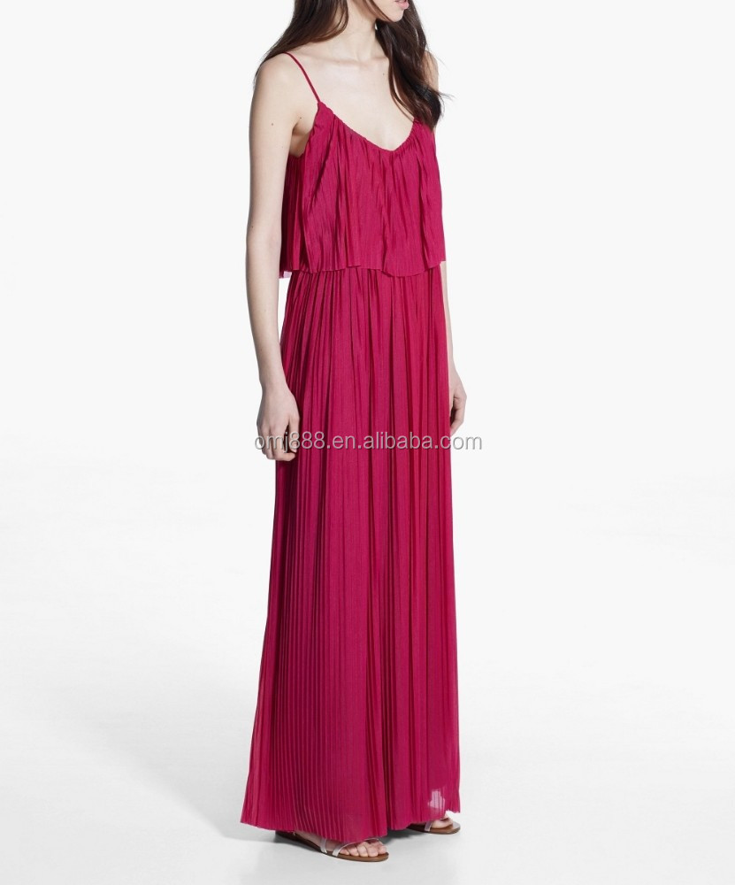 Customize New Korean Style Cherry Color Long Strap Pleated Maxi Red Dress Summer Fashion alibaba express China bohemian clothing