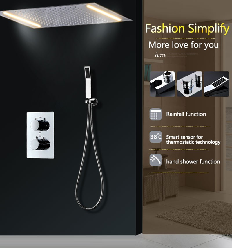 Rainfall Conceal Shower Set Electricity Power LED Wall Ceiling Mounted Bathroom Hand Shower Head Set