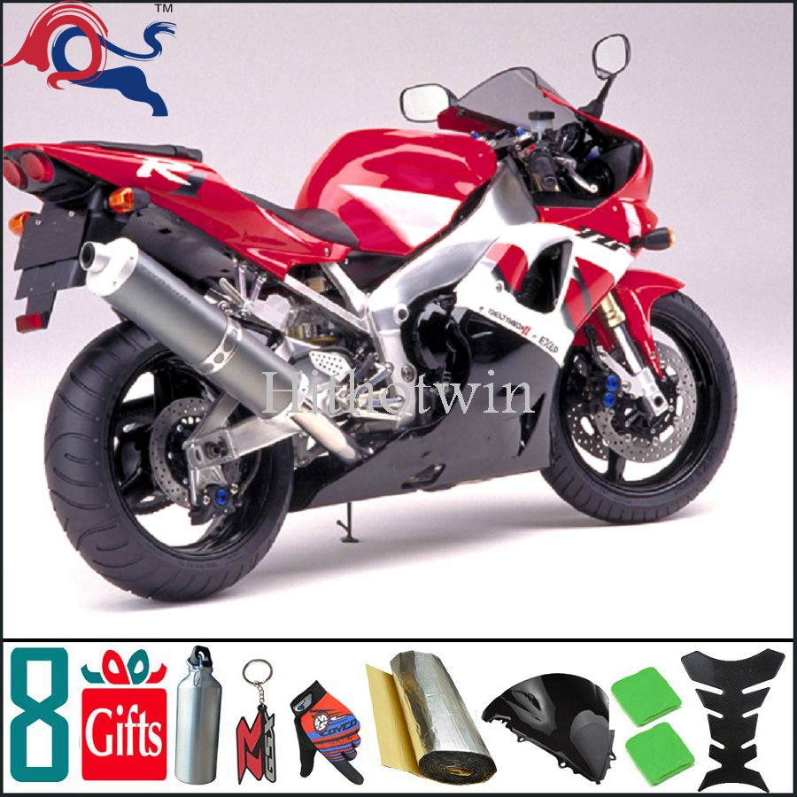 2000 2001 YZFR1 ABS Fairings For yamaha YZFR1 2000 2001 red white Fairing Fit Motorcycle Body Kit