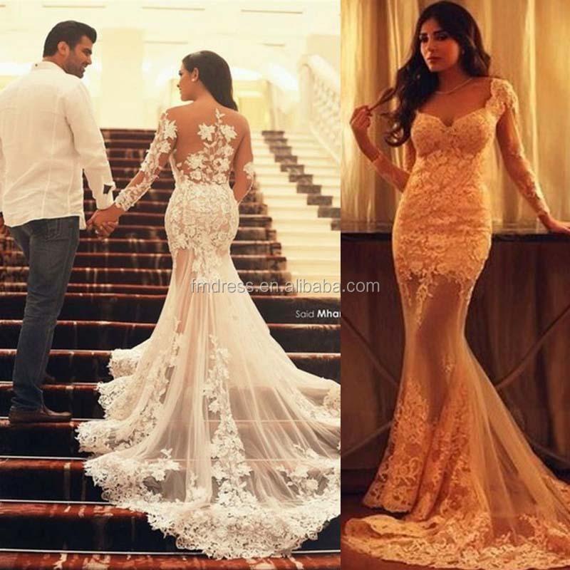 2015 unique lace mermaid wedding dresses champagne