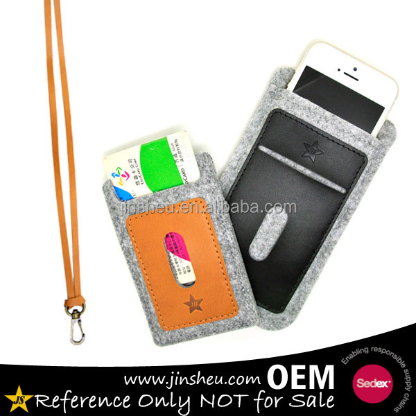 PU leather custom felt frabic mobile phone case neck strap