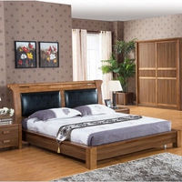 traditional natural simple solid wood bedroom set 1.8m bed with head rest