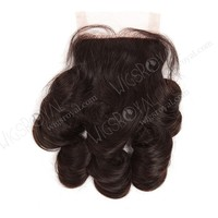10inch Indian remy natural color big loose curl bangs lace closure
