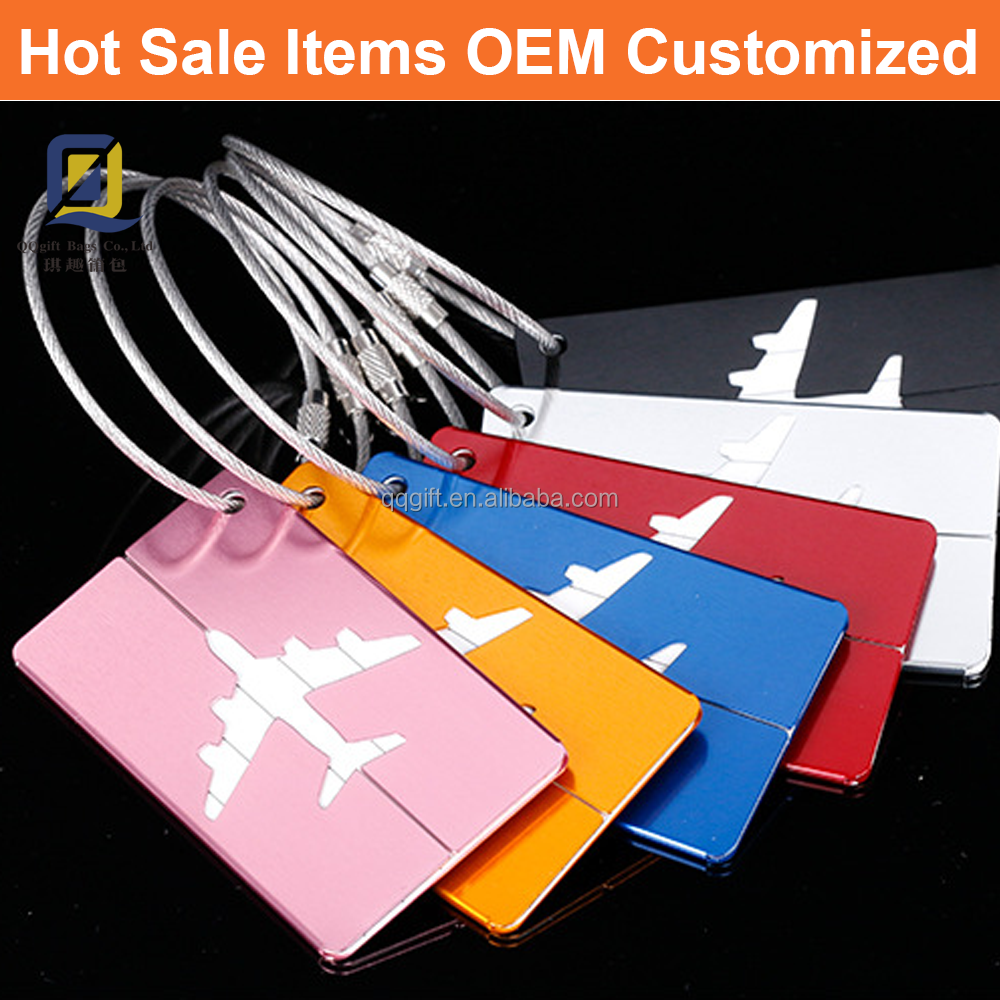 Hot sale Travel luggage tag, Aluminum or Alloy, Laser printing is available, for free