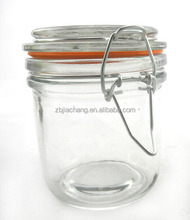 2016 cheap big belly mini clear glass spice jar with clamp lid
