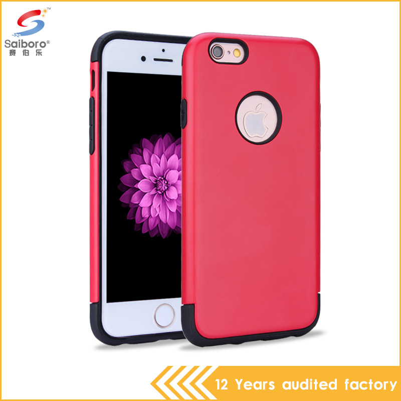 Hot sale mobile phone accessories factory in china red color pc tpu hybrid armor cellphone case for apple iPhone 6