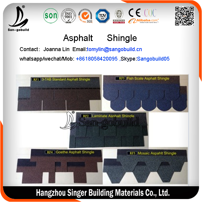 Red asphalt shingles/red asphalt shingles/asphalt shingle China supplier