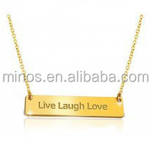 Custom Inspirational bar Necklaces 18k Gold Plated Live Laugh Love Necklace jewelry